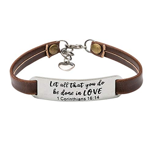 UNQJRY Religious Bracelets for Women Christian Leather Bracelet Inspirational Gifts for Her Let All That You do, be Done in Love