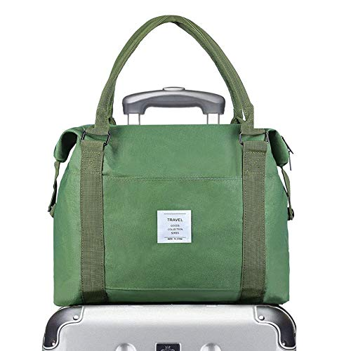 Canvas Weekender Bag Overnight Carry-on Tote Duffel Bag travel bags sports Gym Bag workout duffel bag shoulder Bag Sports Gym Bag Waterproof Carry On Luggage Bag (Green)