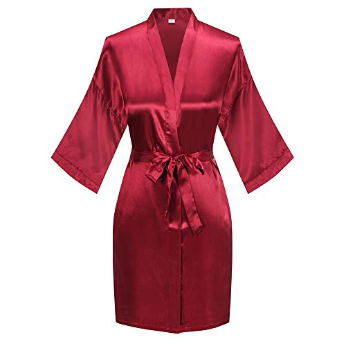 Old-to-new Women's Short Silk Kimono Robes Nightgown Satin Bathrobe Wedding Party Robe Wine Red L