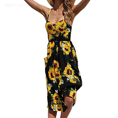 ONLY CHARM Femmes Fleurs Robe de Soirée, Longue Robe de Plage d'été Bohemian sans Manches Dos Nu Imprimee Grande Taille, Noir,S