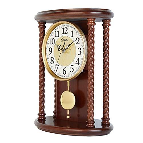 ZLDMYC Exquisito Silent Péndulo Reloj de Madera Mantel de Madera Relojes de Escritorio Decorativos para el hogar para la Sala de Estar Cocina de Oficina Creativo (Color : Wood)