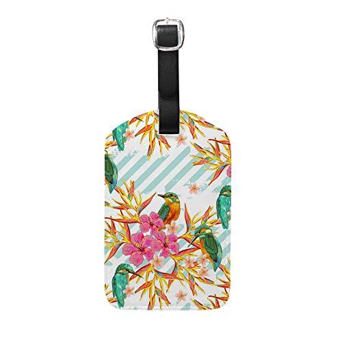 Ruchen - Juego de Etiquetas para Maleta, diseño de pájaros Tropicales, Flores...