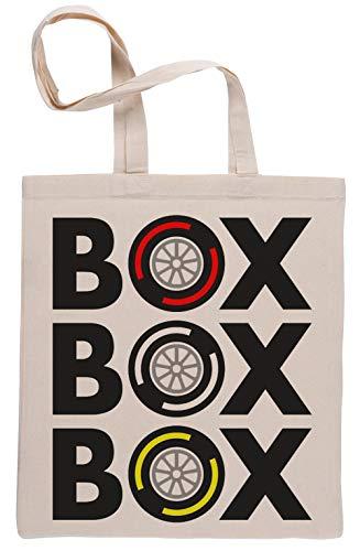 Box Box Box Tyre Compound Wiederverwendbar Einkaufstasche Reusable Beige Shopping Bag