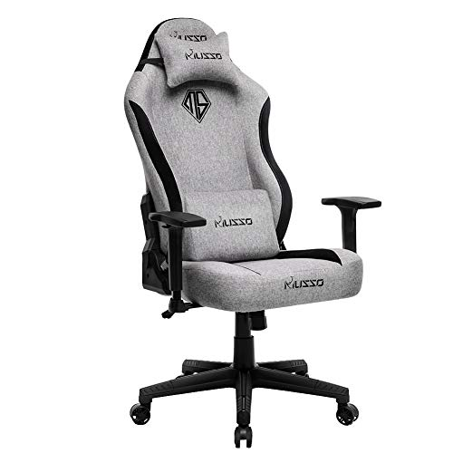Musso Fabric Gaming Chair with Wide Seat,Heavy Duty Racing Chair, Adults Adjustable Video Game Chair, Large Size PU Leather High-Back Executive Office Chair (Gray)