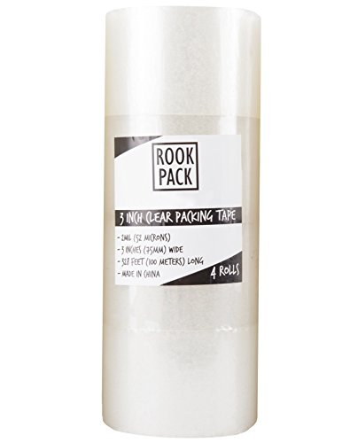 Rook Pack 4 Rolls 3 Inch Wide x 110 Yards (328 Feet) 2.0 Mil Packaging Tape (3 inch x 110 Yards)