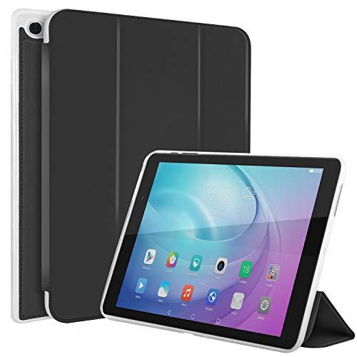 N NEWTOP Funda compatible para Huawei Mediapad T2 Pro de 10 pulgadas, funda Flip Smart Libro TPU Back Front Ultra Delgada y ligera Stand Función Wake/Sleep Simil piel (negro)