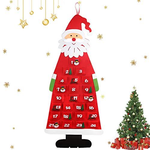 Adventskalender zum Befüllen Kinder, Stoff-Adventskalender, Filz Adventskalender Santa, XXL Adventskalender Taschen, Weihnachtskalender zum Befüllen Kinder- Rot