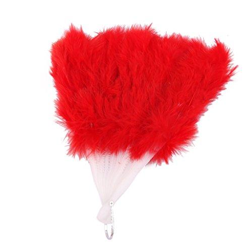 Gazechimp Pliant Eventail Artisanal en Plume Cadeau de Mariage Accessoire pour Femmes Burlesques Déguisement Danse - Rouge