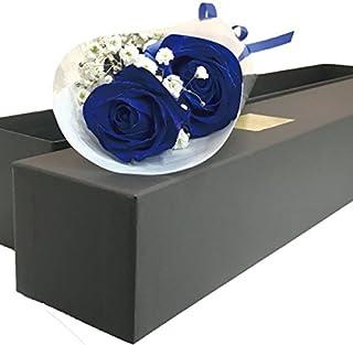 ブラックボックス ブルーローズ 生花 青いバラの花束 ギフトボックス