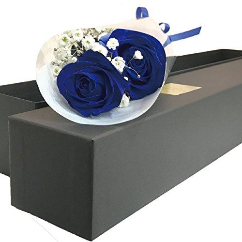 【クール ブラックボックス ブルーローズ 生花 青いバラの花束 ギフトボックス