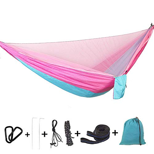 Bwiv Outdoor Hammock With Mosquito Net Ultralight and Portable Supports Up To 440LBS Double Parachute Camping Hammocks With Tree Straps For Hiking Backpacking Travel Yard 114''x 55'' Pink and Blue