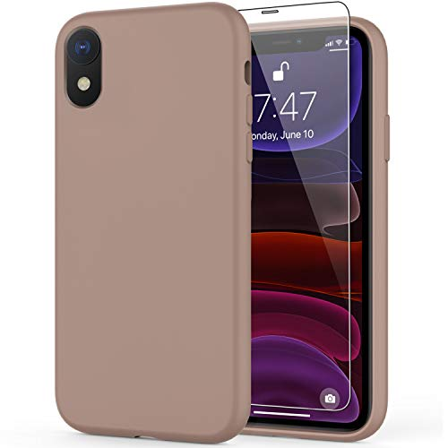 DEENAKIN iPhone Xr Case with Screen Protector,Soft Liquid Silicone Gel Rubber Bumper Cover,Slim Fit Shockproof Protective Phone Case for iPhone Xr Light Brown