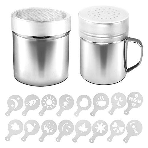 AIFUDA 2 Stück Edelstahl-Pulverstreuer mit Deckel, 16 Stück Druckformen Schablonen, Pulverdosen mit Loch oder feinmaschigem Netz für Kaffee, Cappuccino, Latte für Küche, Backen, Kochen