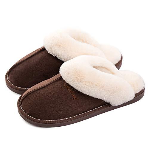 Lastia Damen Hausschuhe Winter Warm Faux Pelz Slipper Weiche Flache Plüsch Pantoffel Rutschfeste Outdoor/Indoor- 36.5/38 EU, Etikettgröße: 270 (40-41) , Dunkelbraun
