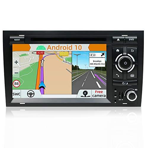 YUNTX Android 10 Autoradio Compatible con Audi A4 B6 / B7 / S4 / RS4 / Seat Exeo- GPS 2 DIN - Cámara Trasera Libre & Mic & Canbus - Soporte Dab/Control del Volante / 4G / WiFi/Bluetooth/MirrorLink