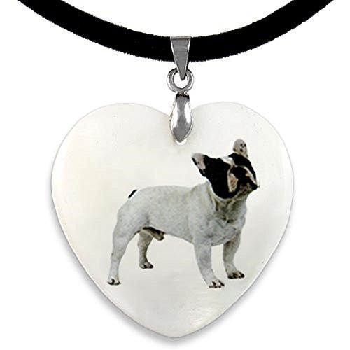 Timest - Bulldog francés - Colgante Nácar en Forma de Corazón PP0022