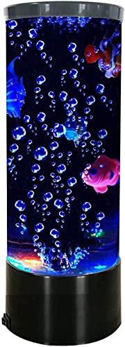 Lámpara de Peces de Escritorio, Acuario USB eléctrico, led, lámpara de Lava de Burbujas Grandes con 3 Peces, luz de Humor Nocturna Que Cambia de Color, Regalo para decoración para niños