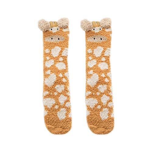 JOYKK Frauen Winter Fluffy Fuzzy Slipper Socken 3D Cartoon Tier Coral Velvet Strumpfwaren - 5# Giraffe