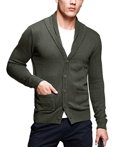 Match Men's K G Series Shawl Collar Cardigan Sweater (US M (Tag size XL),Army green)