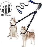 YOUTHINK Doppelleine Hundeleine für 2 Hunde Keine Verwicklung Reflektierend Hundeleine Doppelte Gepolsterte Griffe Verstellbar Splitterleinen, mit kotbeutelspender für Hunde bis zu 110 lbs
