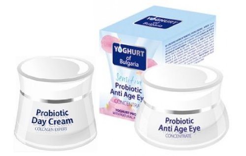 Probiotic Set - Collagen Expert Day Cream 50ml & Anti Age Eye Concentrate 40ml with Probiotic of Yogurt and Natural Bulgarian Rose Oil by Bio-Fresh