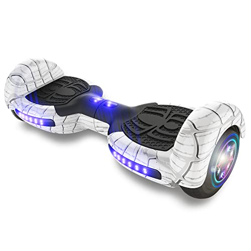 """TPS Power Sports Hoverboard Self Balancing Scooter for Adults and Kids 300W Dual Motor 6.5"""" Wheels Bluetooth Speaker LED Lights Self Balance Hoverboards Great Gift UL2272 Certified (White)"""