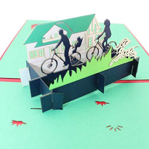 CRAINY 3D-Stereoanlage, Grußkarte, Kinder, Vatertag, Muttergeburtstag, Feiertag, Geschenk, Haus, Fahrrad, Welpenschaukel