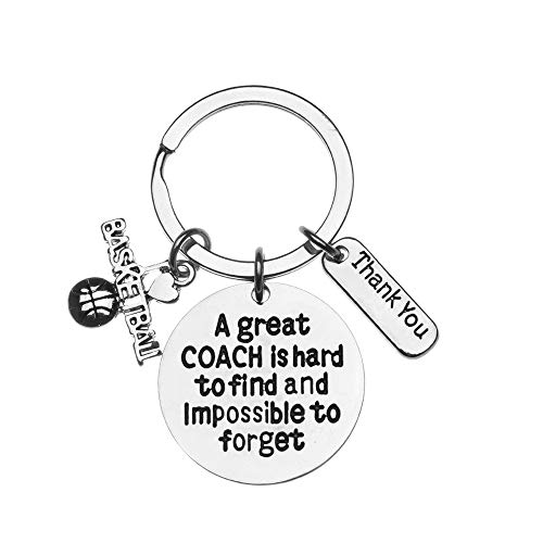 Sportybella Basketball Coach Keychain, Basketball Coach Gifts, A Good Coach is Hard to Find and Impossible to Forget Keychain for Men and Women