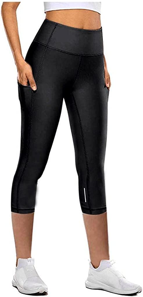 WOSHUAI Unisex Tight Elastic Quick Dry Yoga Pants Reflective Cropped Trousers Yoga Pants for Mens Womens