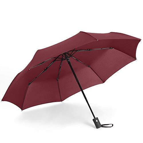 LONGRUI Paraguas A Prueba De Viento Paraguas Plegable Grande Plegable 8 Varillas Paraguas De Viaje A Prueba De Viento Que Se Abren Y Cierran Automáticamente,Rojo