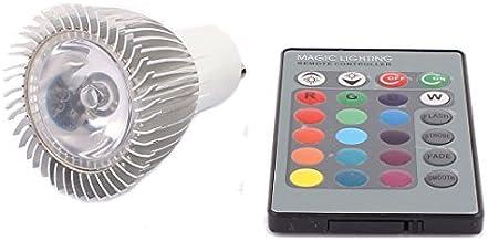 DealMux GU10 Adapter Decor Spotlight Light RGB LED Lamp Bulb 3W AC 85V-265V w Remote Controller
