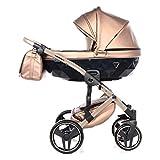 Junama Diamond Fluo 2.0 Trio 3en1 Carro de bebé polipiel BBtwin cochecito (champán)