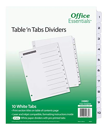 Office Essentials Table 'n Tabs Dividers, 8-1/2 x 11, 1-10 Tab, Black/White Tab, Laser/Inkjet, 6 Pk (24882)