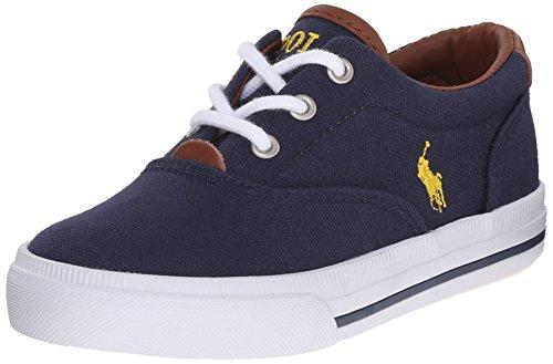 Polo Ralph Lauren Kids Boy's Vaughn Ii Sneaker, Navy/Yellow, 6 M US Big Kid