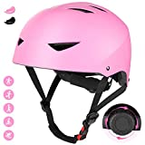 JIM'S STORE Bicycle Helmet Child Teenager Girls Boys 6-16 Years Child Helmet Bicycle BMX Skateboard Scooter Helmet Skateboard Protection Adjustable Child Roller Shockproof (Pink)