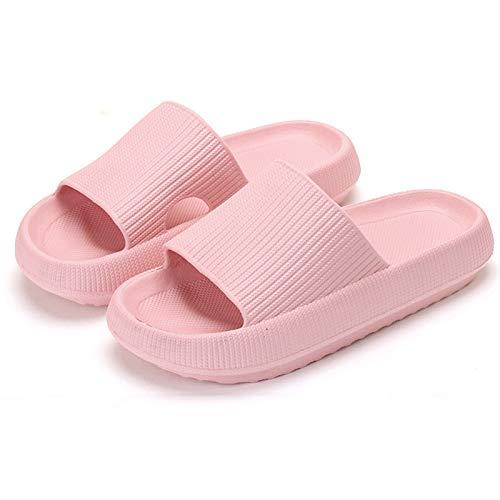 MOLATIN Pillow Slides Slippers for Women and Men,Non-Slip Quick Drying Shower Bathroom Thick Sole Slide Sandal EVA Platform,2021 Latest Technology-Super Soft Open Toe Spa Bath Pool Gym Home Sandals (Pink, 7-8.5,6-7, numeric_7)