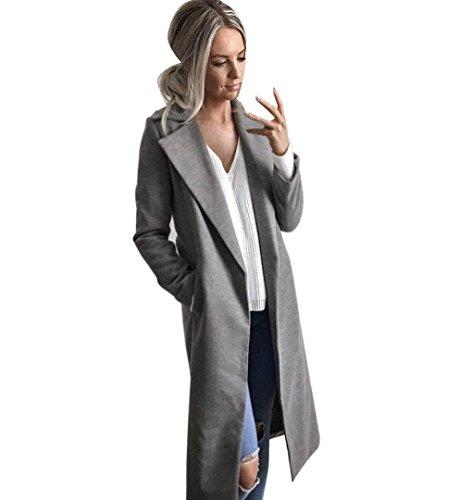 ZEZKT Damen Blazer Langarm Elegant Longblazer Langarm Mantel Coat (XL, Grau)