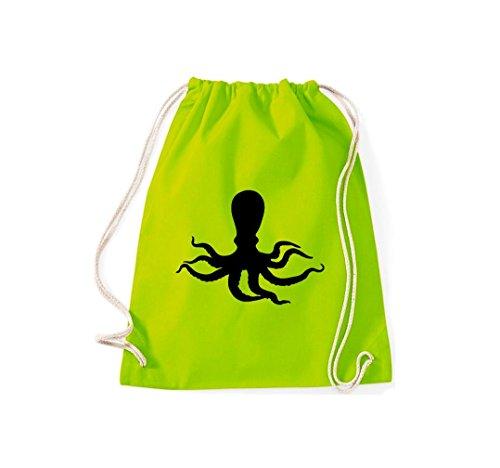 Turnbeutel; Tiermotiv Krake, Oktopus, Tintenfisch, Kalmare, Meerestier; Farbe Lime