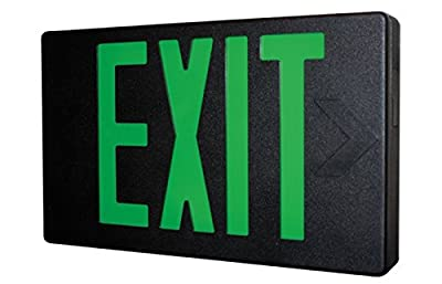 Black LED Exit Sign with Green Letters