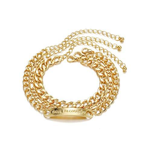 1 pulsera de mujer de varias capas de joyería de cadena retro Hip Hop cadena conjunto de pulsera dorado