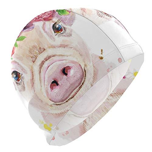 ALINLO Badekappe Schweinchen lustig süß Tier Rose Pink Badekappe Wasserdicht Badehaube Dusche Haar Abdeckung für Erwachsene Männer Frauen Jugendliche Mädchen Jungen