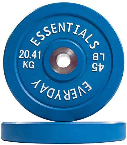 BalanceFrom Everyday Essentials Color Coded Olympic Bumper Plate Weight Plate with Steel Hub, Pair