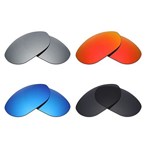 MRY 4Paar Polarisierte Ersatz Gläser für Oakley Monster Dog sunglasses-stealth schwarz/fire rot/ice blau/silber titan