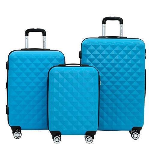 BEIBYE Kofferset 4 Zwillingsrollen Hartschale Trolley Koffer Reisekoffer Reisekofferset Gepäckset in 12 Farben (Türkis)