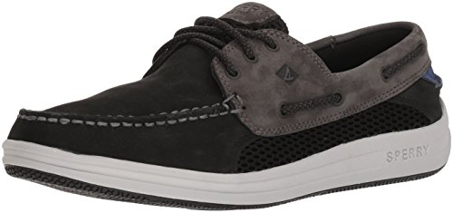 Sperry Men's Gamefish 3-Eye Boat Shoe, Black/Grey, 8.5 Medium US
