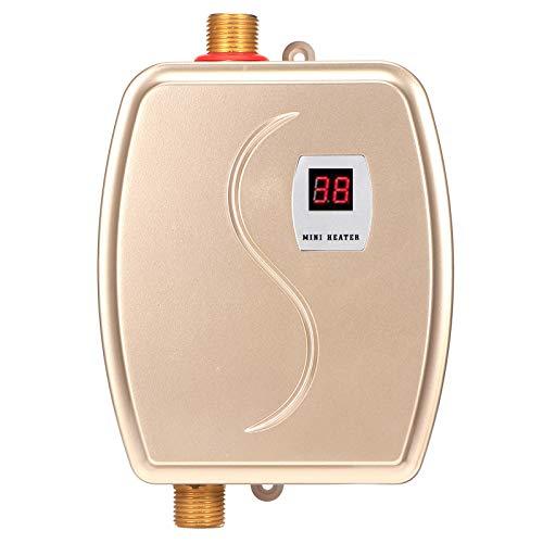 AYNEFY Durchlauferhitzer Klein Elektrische Warmwasserbereiter 220V 3800W Edelstahl Mini Durchlauferhitzer mit LED Temperatur Elektro Instant Water Heater für Bad Küche Garten(Golden)