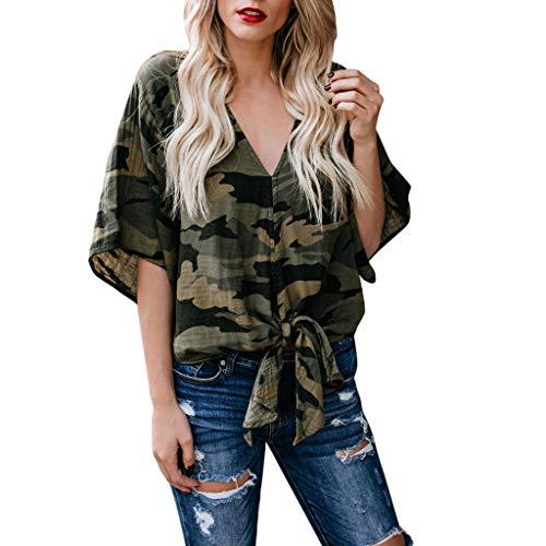 Battnot❤ Damen T-Shirt Camouflage Bogen Spitze-up Saum Kurzarm Sommer V-Ausschnitt Vintage Casual Lose Bluse, Frauen Tops Retro Baggy Strand Pulli Hemd Womens Pullover Tees Shirt S-XL