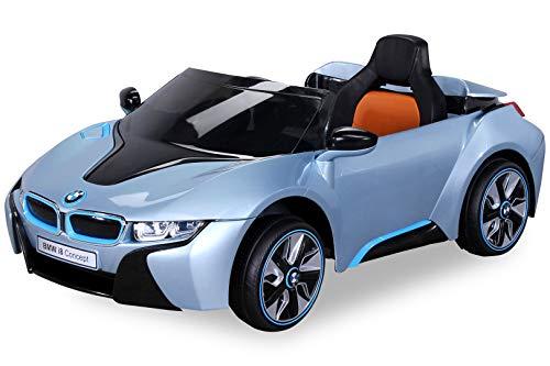 Actionbikes Motors NEU Kinder Elektroauto Lizenzierter Original BMW I8 mit 2 x 45 Watt Motor Elektro Kinderauto Kinderfahrzeug (Hellblaumetallik)