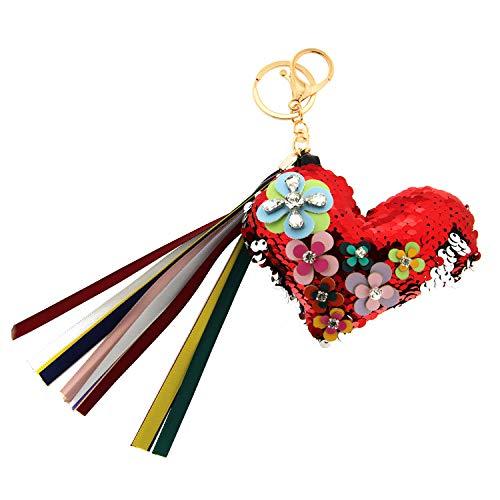 Sweet Deluxe Schlüsselanhänger Flowerheart, rot/Mix I Cooler Schlüsselhalter für Damen & Mädchen I Geschenk-Idee für Frauen & BFF Freundin I individueller Schlüsselring