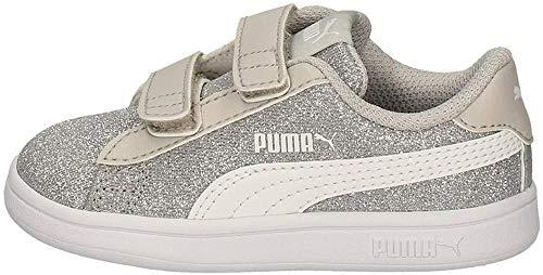 PUMA Unisex-Kinder Smash V2 Glitz Glam V Inf Sneaker, Silber Weiß, 26 EU
